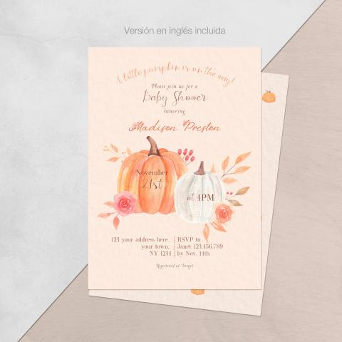 Invitacion baby shower pequena calabaza ingles