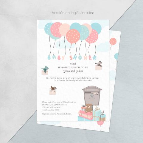 Baby shower invitacion por mail version globos ingles
