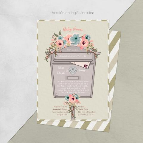 Baby shower invitacion por correo flores version ingles