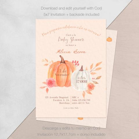 Invitacion baby shower pequena calabaza descarga