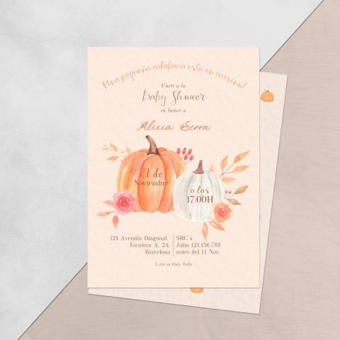 Invitacion baby shower pequena calabaza