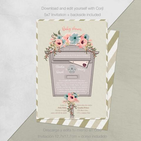 Baby shower invitacion por correo flores descarga