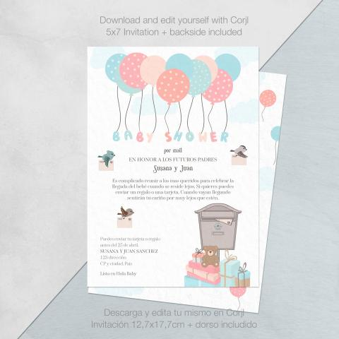 Baby shower invitacion por mail globos descarga