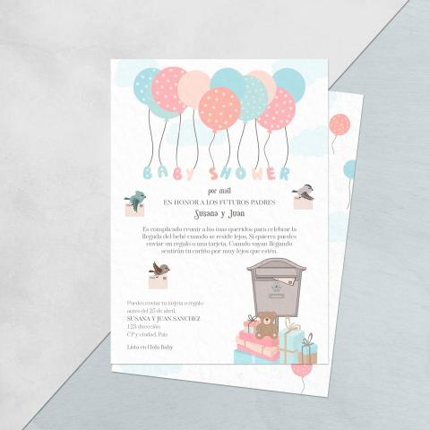Baby shower invitacion por mail globos