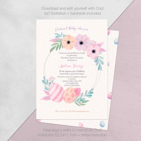 Baby shower huevos de pasqua y flores descarga